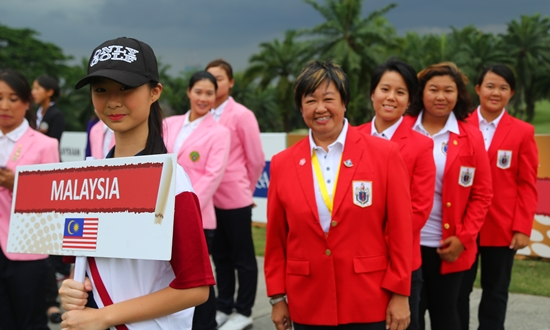 Malaysian team captain Margaret Soon with Dianne Luke, Nur Durriyah Damian and Kelie Kan during the opening ceremony of the 36th Queen Sirikit Cup ©MALGA