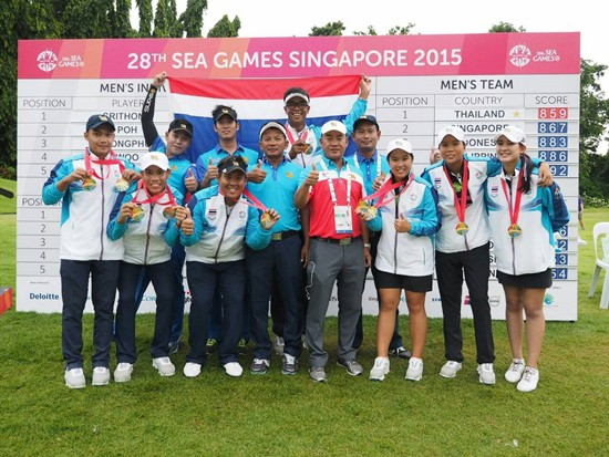 The jubilant Thais after completing a clean sweep  at Sentosa Golf Club