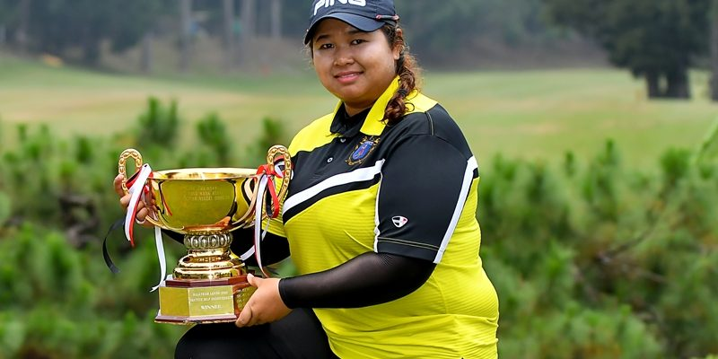 Nur Durriyah Damian poses with the Malaysian Amateur Open trophy ©Mike Casper|The ClubHouse