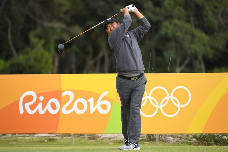 Danny Chia in action during the opening round of the Rio Olympic golf competition ©Chris Condon PGA TOUR IGF